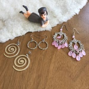 Jewelry - 💎 Lot of 3 Pairs Silver Tone Earrings